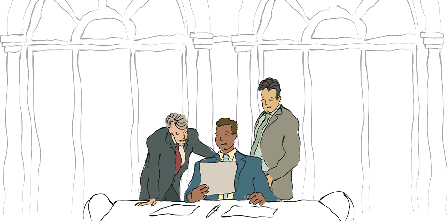 Three Men in a Meeting